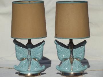 Vintage ceramic boudoir lamp set, 50s retro blue butterfly pottery lamps