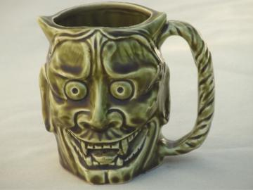 Vintage ceramic character mug, face of the devil unmarked toby mug