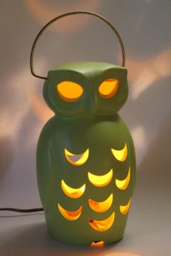 vintage ceramic owl lantern, electric lamp mood lighting TV lamp retro deco