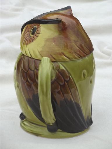 Vintage Ceramic Owl Teapot Foil Label Lego Japan Hand