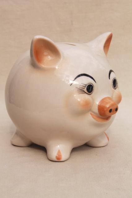Vintage Ceramic Piggy Bank White Yorkshire Pig Cute Moon Face Coin Saving