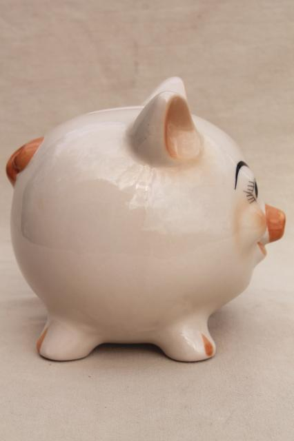 vintage ceramic piggy bank, white yorkshire pig, cute moon face pig coin saving bank