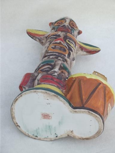 Vintage Ceramic Wine Bottle Indian Totem Pole Sealed Italian Wine