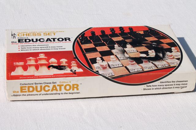 vintage chess set for teaching / learning chess game, educator numbered pieces & board