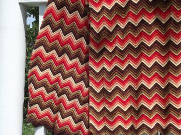 Vintage chevron crochet afghan, wool stripes in coral, shades of brown
