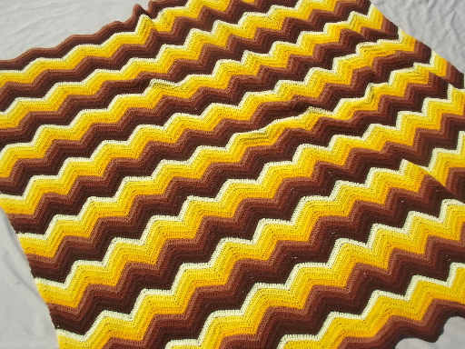 Vintage chevron striped crochet afghan stadium blanket in retro fall colors