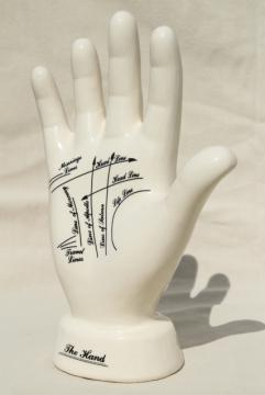 vintage china hand, palmistry fortune telling palm reader display form w/ life lines