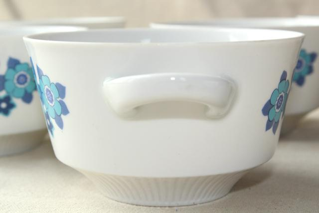 vintage china ramekins, soup bowls or individual casserole pans - big blue daisy flowers
