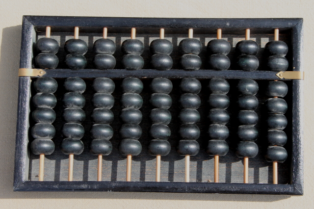 Vintage Chinese Abacus Small Wooden Abacus Counting Frame