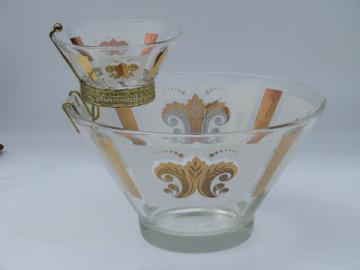 Vintage chip & dip glass bowls set, 1950's - 60's retro glassware
