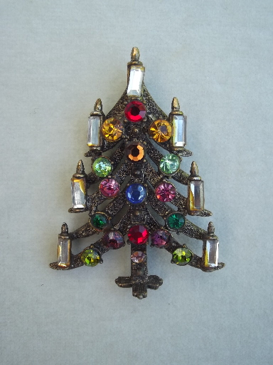 - Vintage Christmas Tree Pin, Retro 50s Hollycraft Rhinestone Brooch