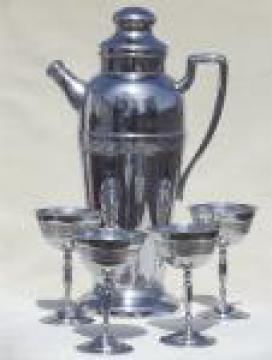 Vintage chrome martini glasses & cocktail mixer  pitcher, 50s retro