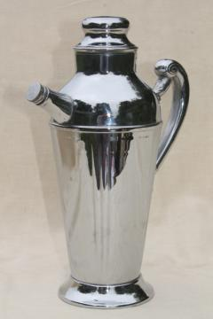 vintage chrome plated cocktail pitcher, martini drinks mixer shaker for art deco bar