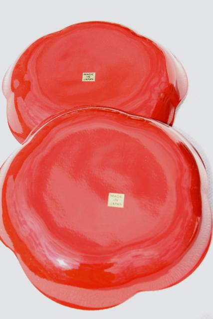 vintage cinnabar red lacquer ware dishes rice or noodle bowls or salad plates