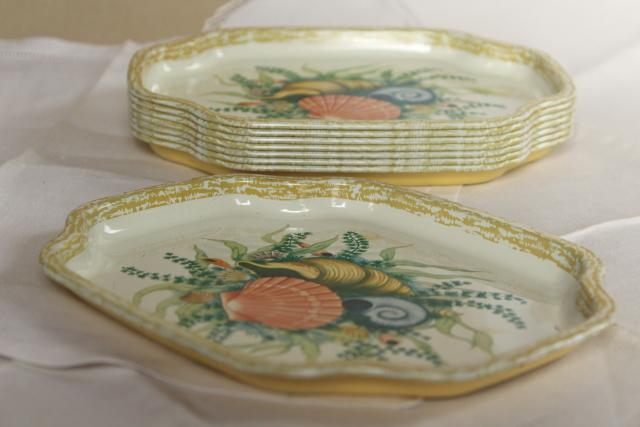 vintage cocktail tray set w/ beach sea shells, England litho print metal tin tip trays