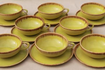 vintage coffee cups & saucers, California Rustic drip glaze pottery, chartreuse Desert Mist