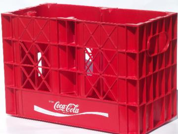 Vintage Coke crate, retro red plastic  carrier for 2 lt soda bottles