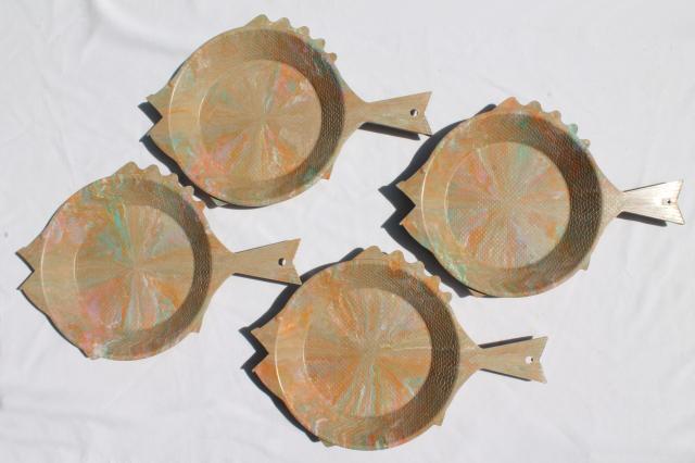 vintage confetti colored marbled plastic Regaline fish plates paper plate holders & vintage confetti colored marbled plastic Regaline fish plates paper ...