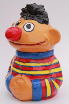 vintage cookie jar, hand made ceramic Ernie muppet from Sesame Street
