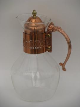 Vintage Corning glass bottle carafe, retro 60s copper handle pitcher