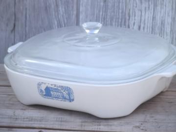 Vintage Corning Ware Amana browning skillet casserole pan & Pyrex lid