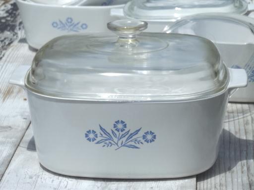 Vintage Corningware blue cornflower Corning ware glass pans casseroles