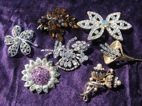Vintage Costume Jewelry Lot Colored