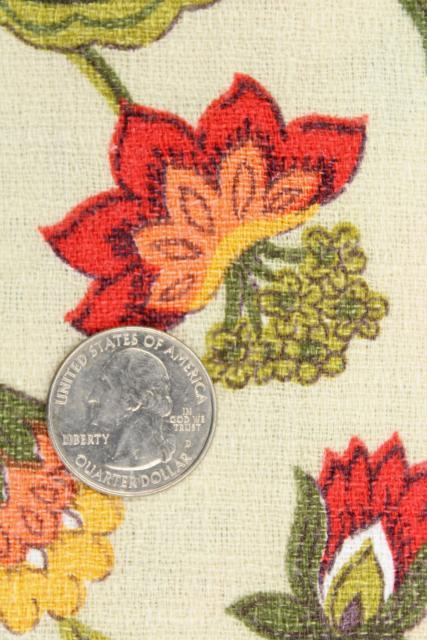 Vintage Cotton Barkcloth Fabric Curtain Panels Crewel