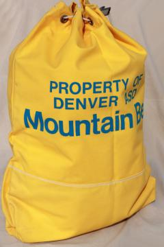 vintage cotton canvas mailbag, large sack duffel marked Denver Co Mountain Bell telephone