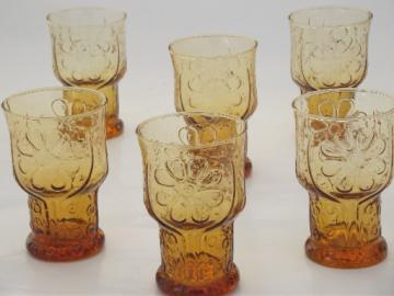 Vintage Country Garden drinking glasses, retro amber Libbey glass tumblers