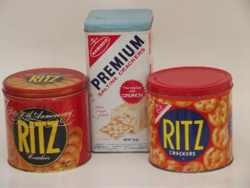 Vintage cracker tins, Ritz crackers and Premium brand kitchen canisters
