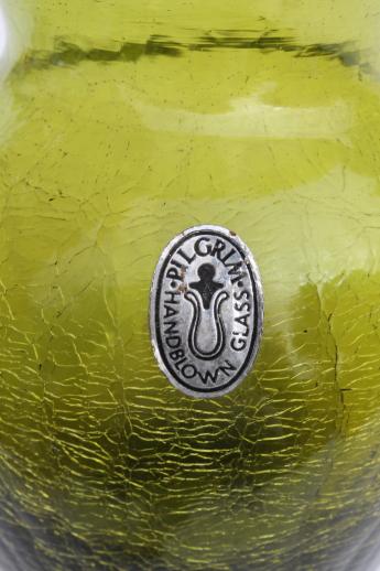 Vintage Crackle Glass Vase W Pilgrim Glass Label Retro Lime Green