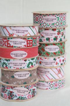 vintage craft ribbon lot, paper fabric ribbons w/ retro Christmas holiday prints