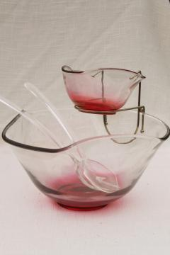 vintage cranberry ruby stain glass bowls set w/ rose tint luster flashed on color