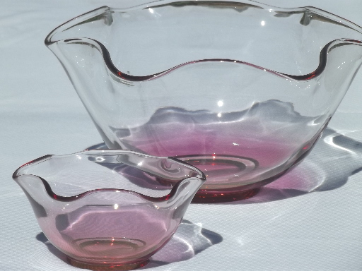 Vintage cranberry stain glass bowls set w/ rose tint luster flashed on color