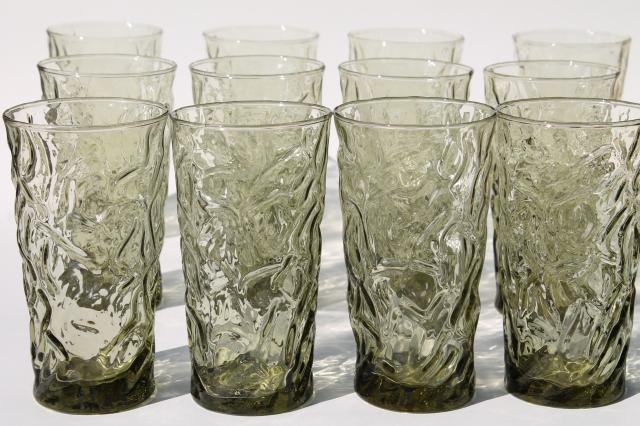 vintage crinkle textured glass tumblers, smoke green dusk Bryce El Rancho drinking glasses