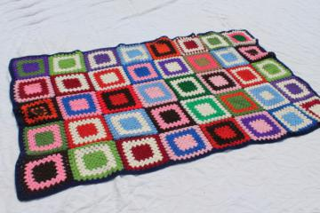 vintage crochet afghan blanket, big bright granny square blocks - very retro!