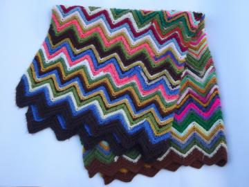 Vintage crochet afghan blanket, chevron stripes in crazy retro scrap colors