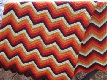 Vintage crochet afghan blanket, retro orange & gold striped chevrons