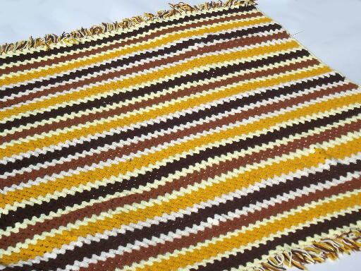 Vintage crochet afghan blanket, soft & cozy autumn harvest colors