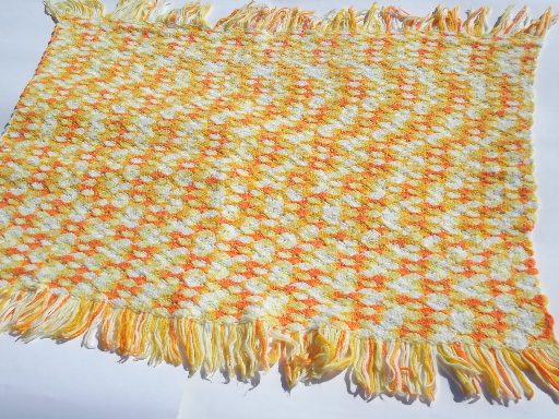 Vintage crochet afghan blanket, soft & cozy fuzzy candy corn colors