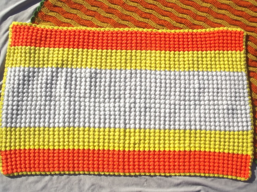 Vintage crochet afghans lot, warm crocheted throws & blankets in fall colors