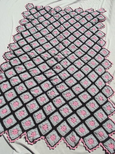 Vintage crochet granny afghan, grannies in grey & pink w/ black border