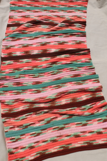 Vintage crochet wool runner rug or picnic blanket, long striped crocheted throw