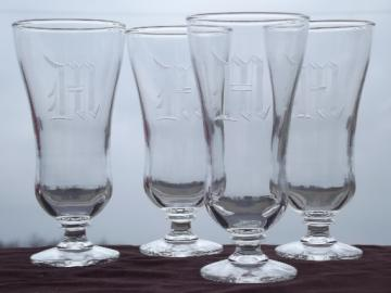 Vintage crystal glasses, etched monogram antique letter M