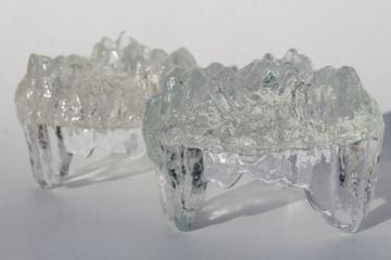 vintage crystal ice candle holders, Scandinavian modern Ittla style LE Smith glass