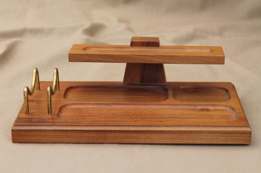 Vintage Danish Modern Desk Tray Walnut Wood Organizer W Wire Letter Rack