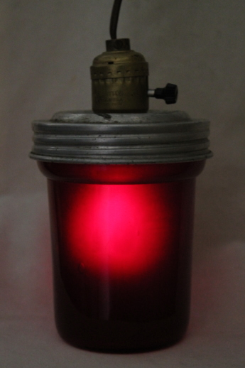 Vintage darkroom lamp, hanging pendant light w/ red glass lantern shade