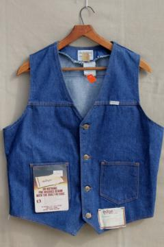 Vintage deadstock blue jeans denim vest mens size large, farmer / rancher vest
