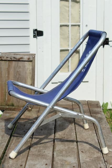 Vintage Deck Chairs Canvas Seat Folding Aluminum Lounge
